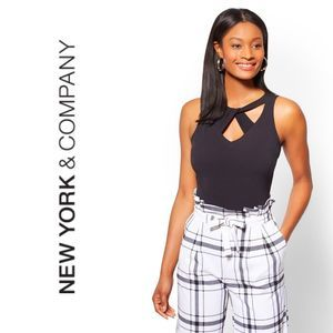 Ny & Co. Navy CUTOUT CRISSCROSS Sleeveless Top XS